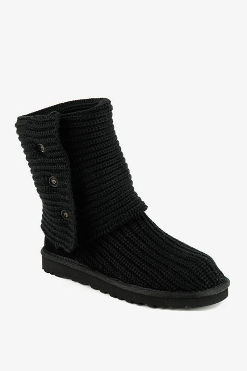 UGG Black Classic Cardigan Knit Sheepskin Boots