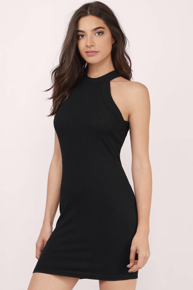 70a71aece15e Trendy Black Bodycon Dress - Ribbed Dress - Bodycon Dress - C  28 ...