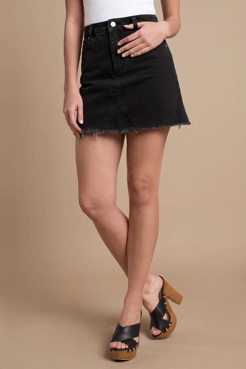 887581cef7 Black Denim Skirt - Frayed Skirt - Rolla's Black Casual Skirt - $48 ...