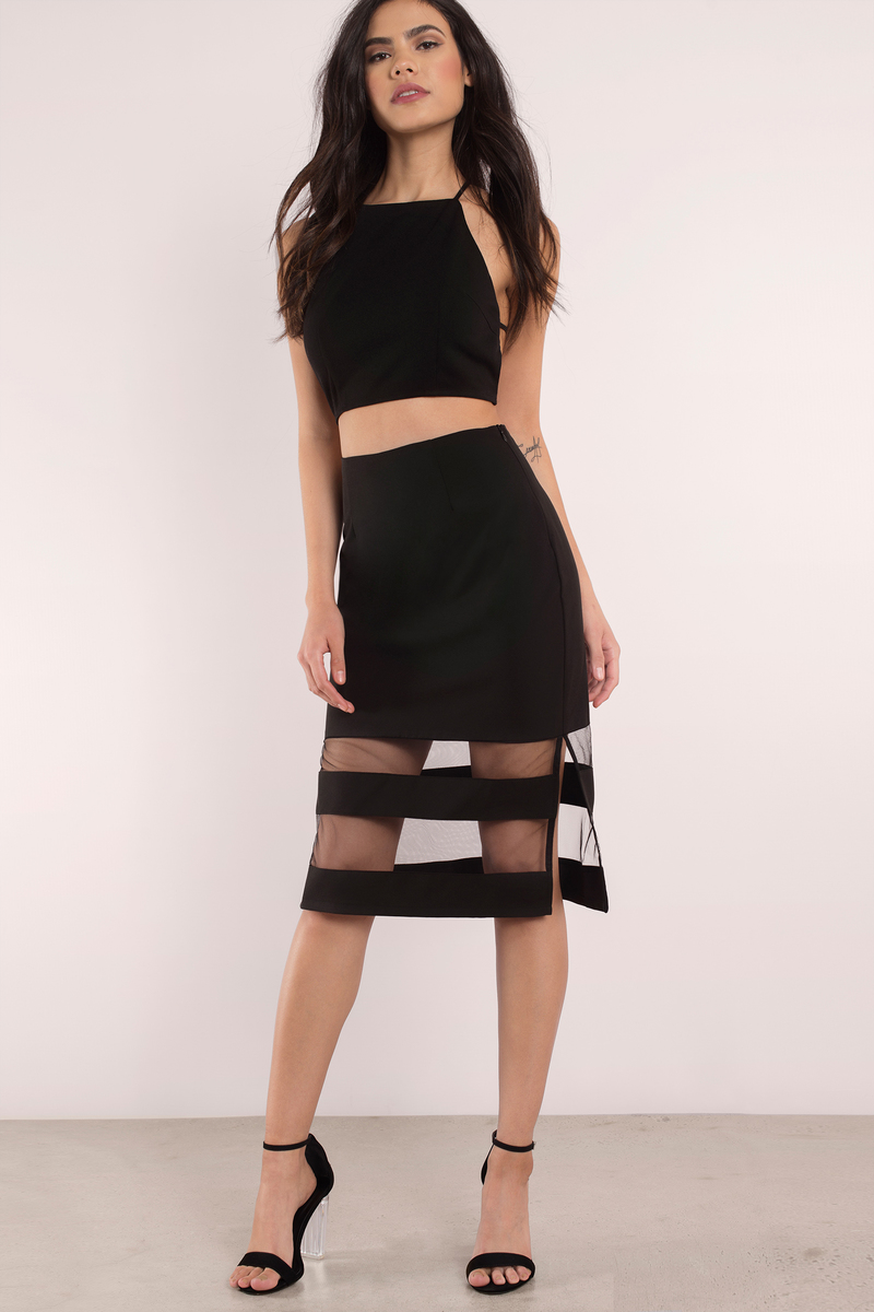 Clear Sights Black Mesh Midi Skirt