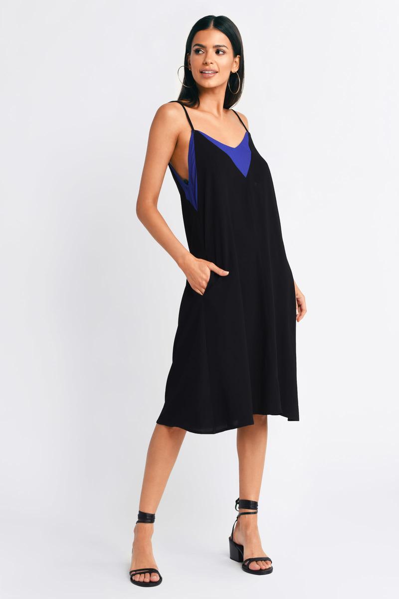 Subtle And Sweet Black & Cobalt Midi Dress