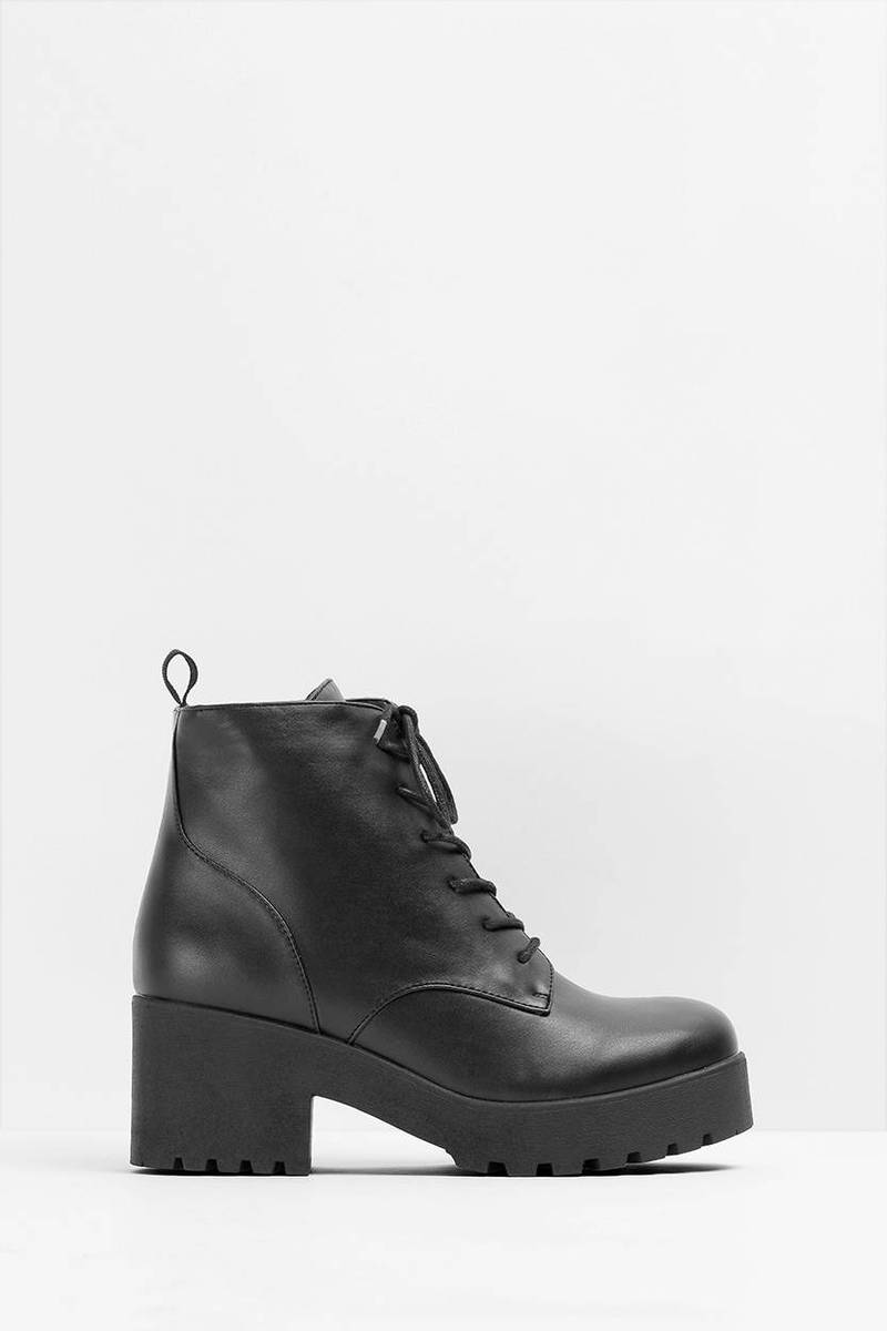 Cobra Combat Black Faux Leather Ankle Boots