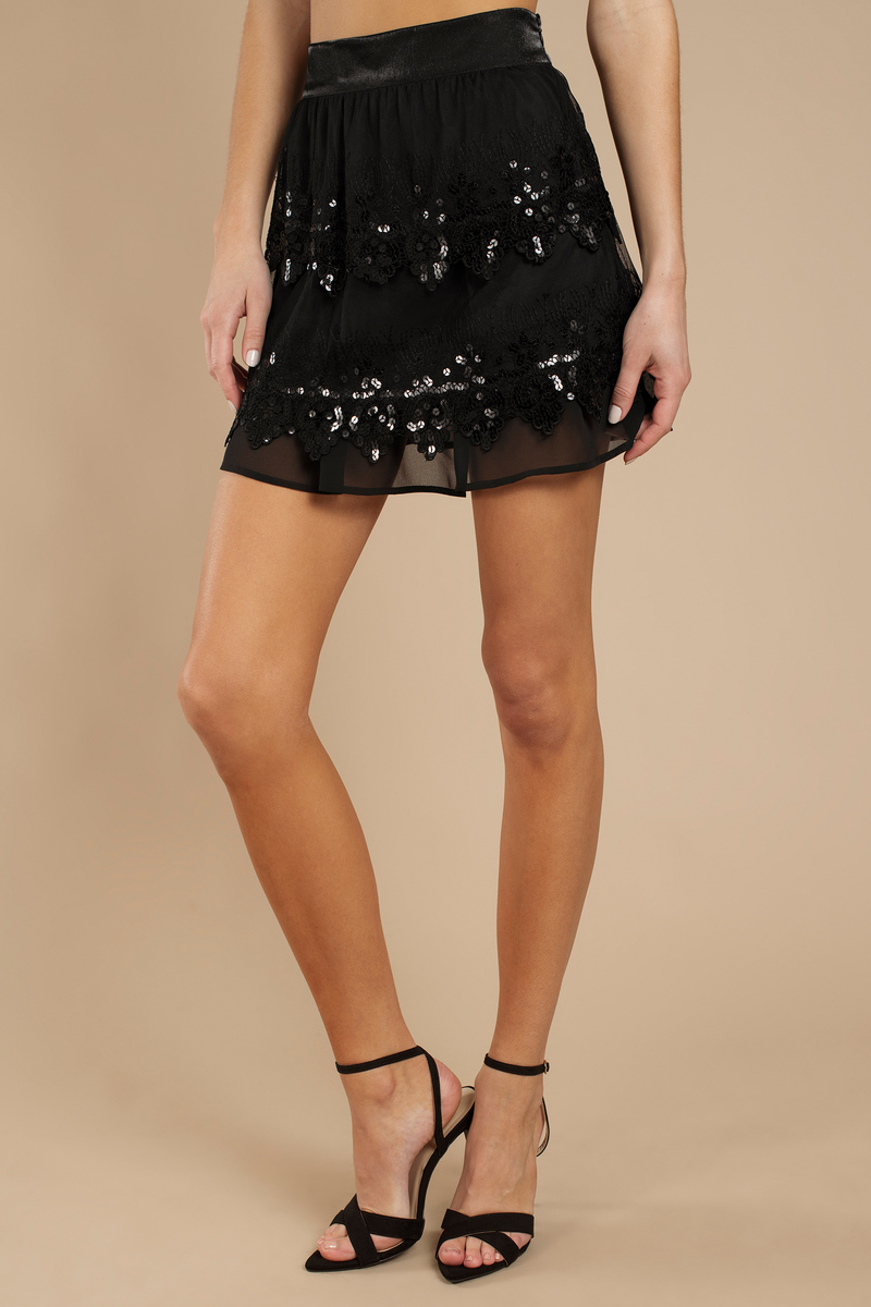 Cocktail Party Black Sequin And Chiffon Layered Skirt