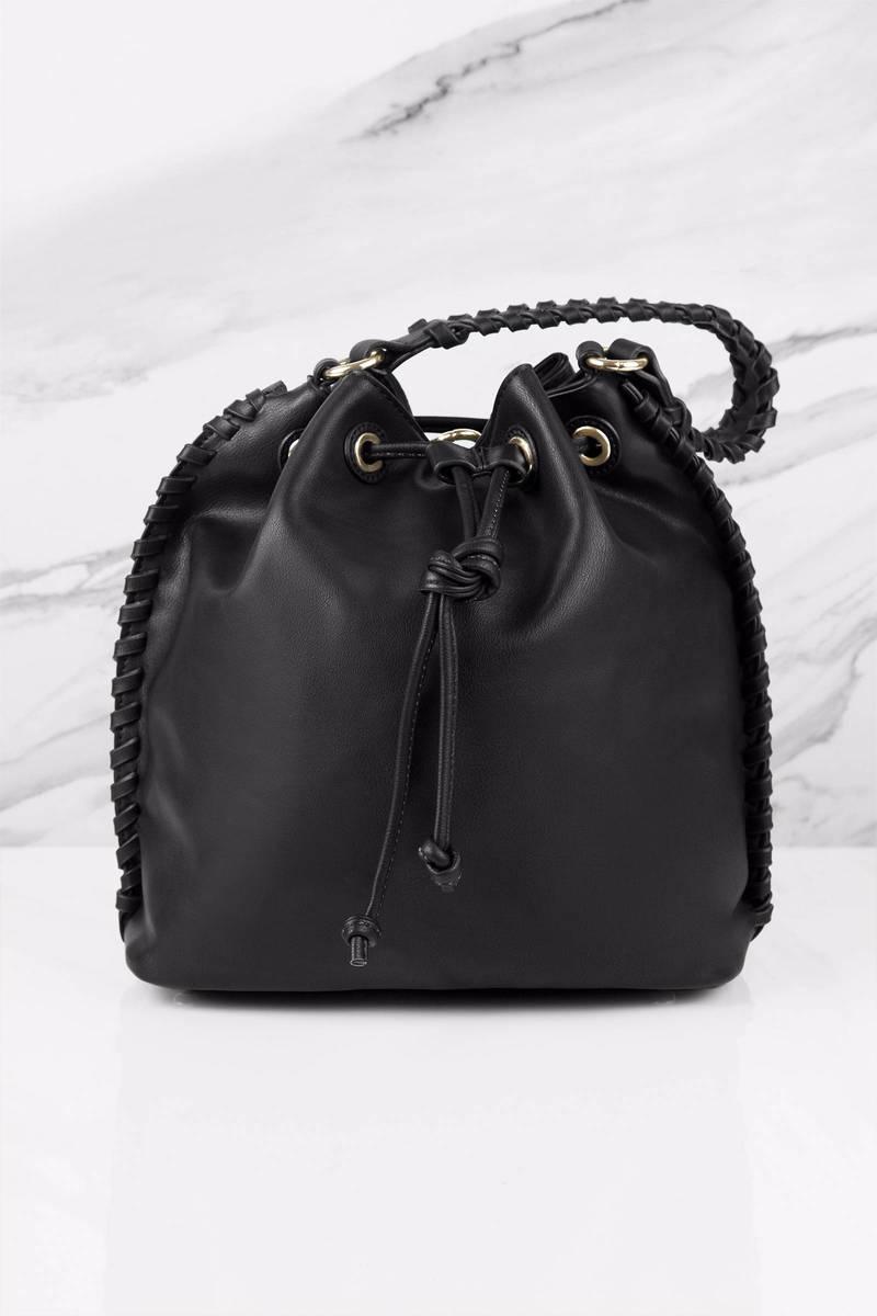 Melie Bianco Coleen Black Faux Leather Bucket Bag