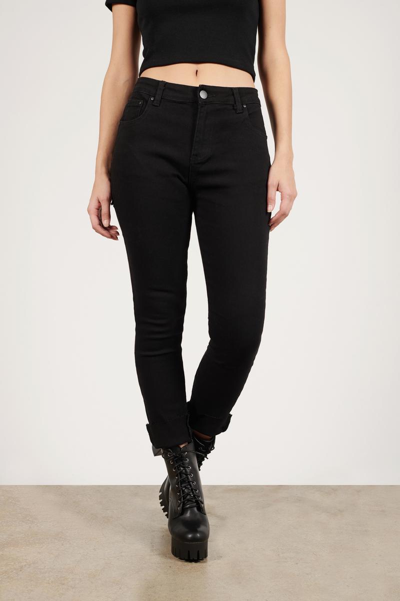 786dd4cf986 Black Jeans - High Waisted Concert Jeans - Black Frayed Hem Jeans ...