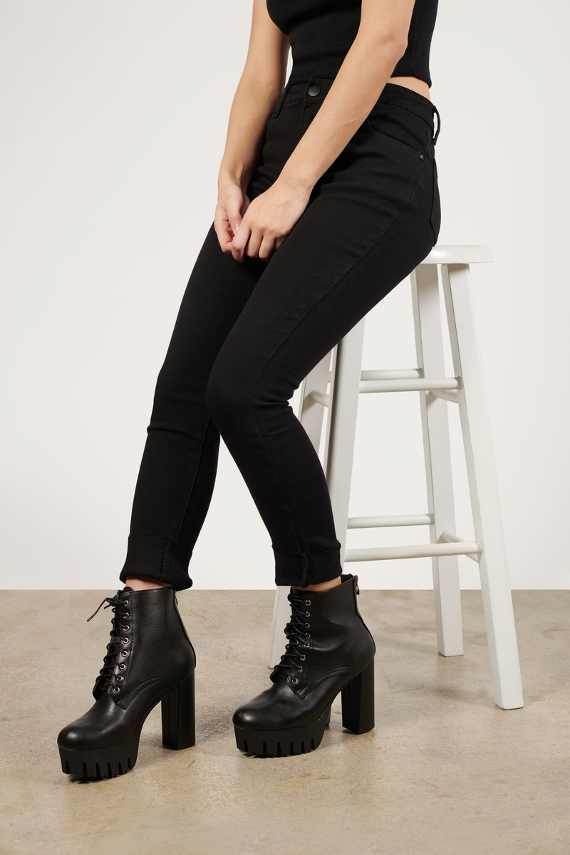 Coming Home Black Lace Up Heeled