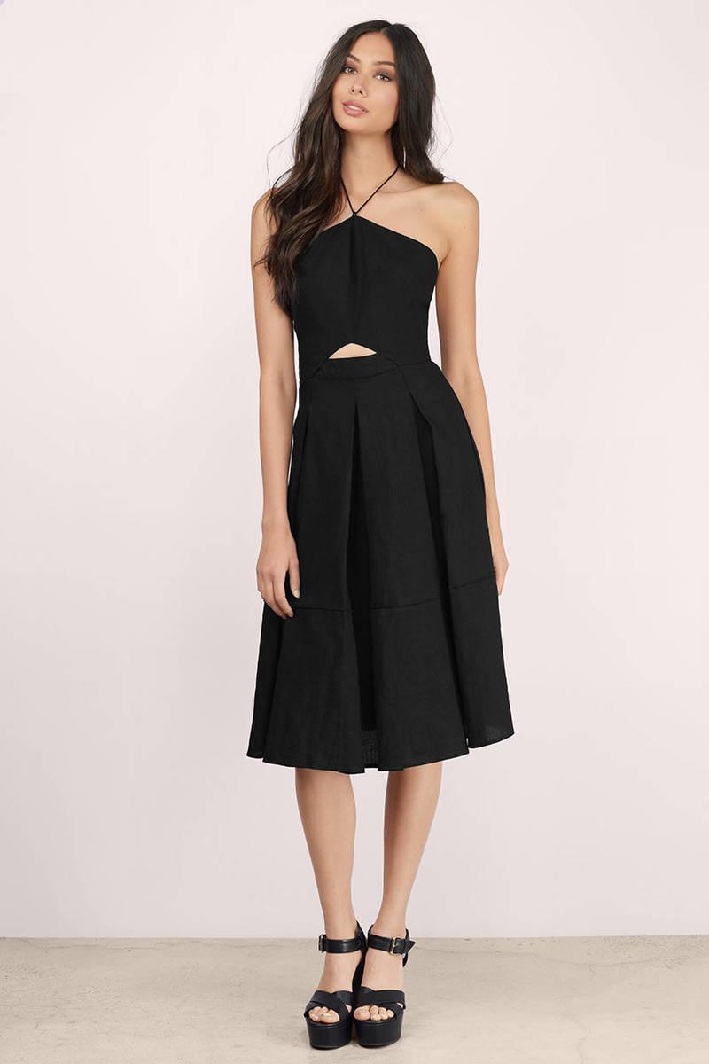 Line & Dot Line & Dot Concorde Black Midi Dress