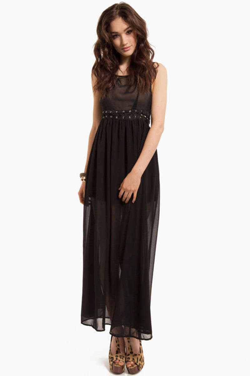 Coraline Tie Black Chiffon High Low Maxi Dress