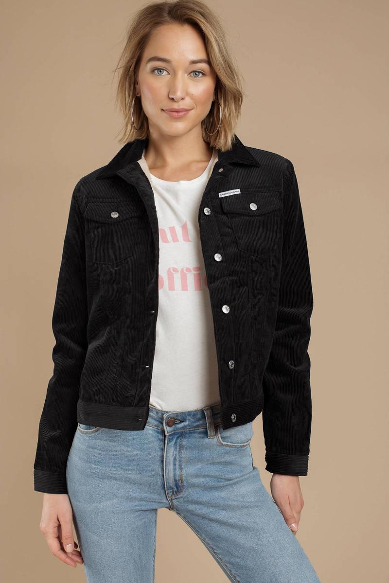 5b2e86eb9755 Black Calvin Klein Jacket - Corduroy Jacket - Black Trucker Jacket ...
