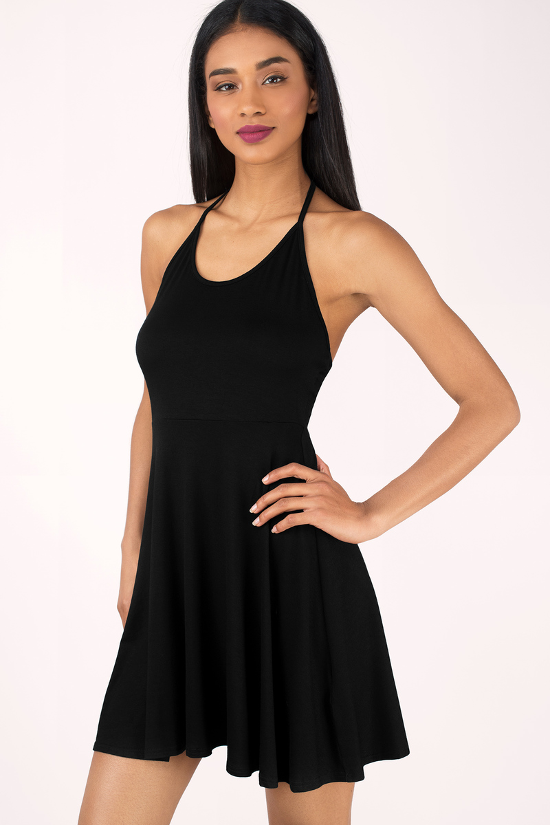 Courage To Say Black Skater Dress