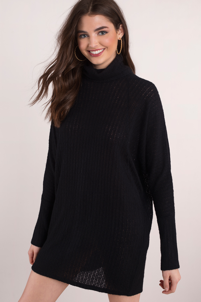 Black Sweater Turtleneck S Draped Top Tunic exCBod
