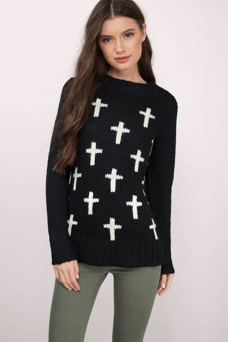 Cross Your Way Cream & Black Wool Pullover Sweater