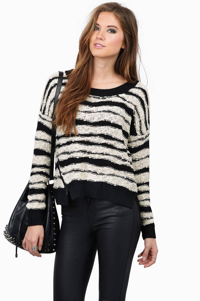 So Wavy Black & Cream Striped Sweater