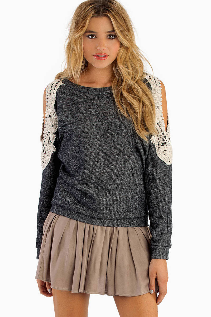 Crochet Open Shoulder Sweater
