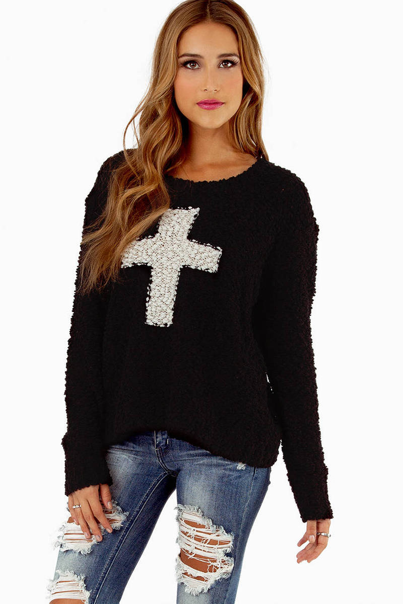 Cross Centered Black Sweater