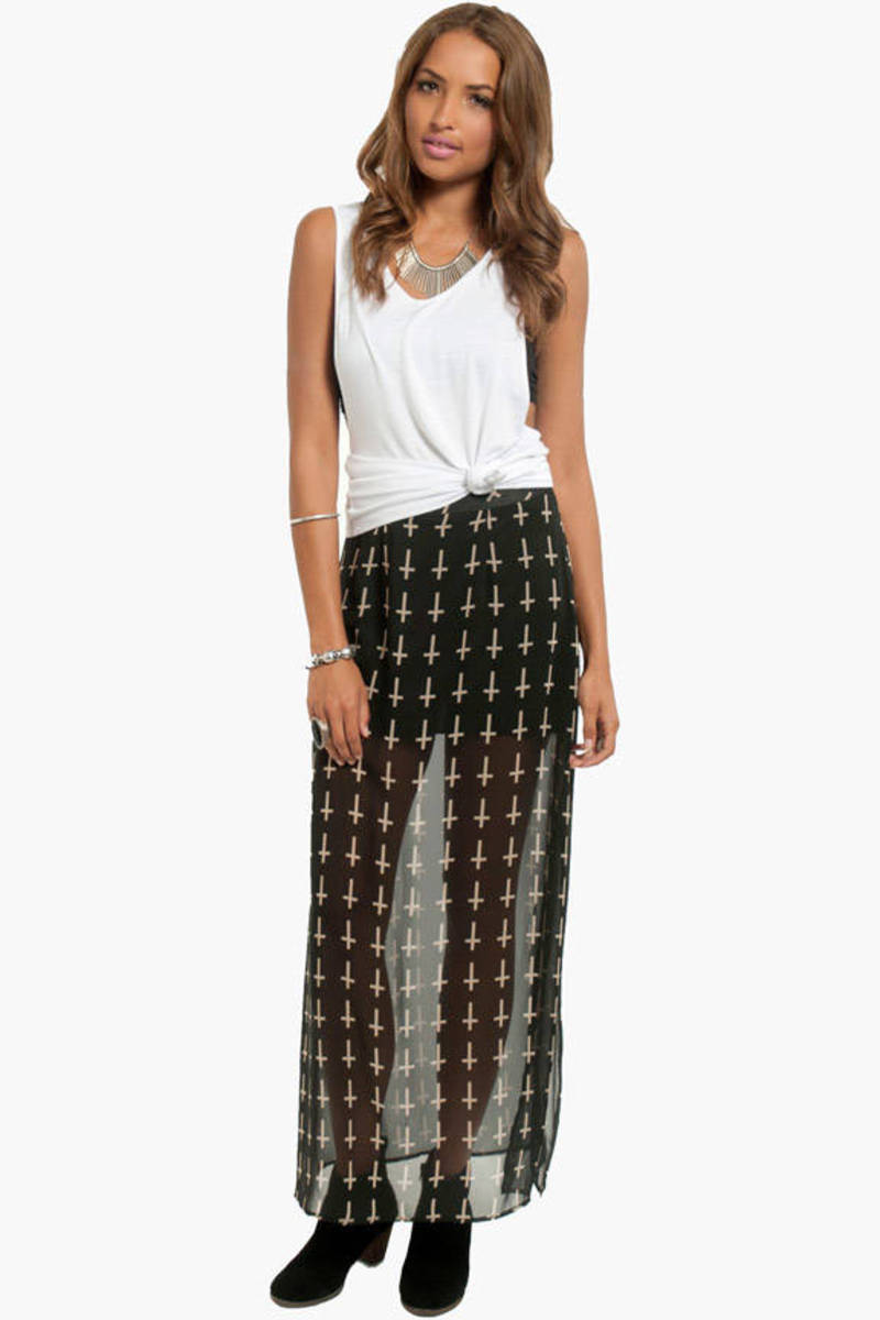 Cross Walk Black Sheer Cross Print Maxi Skirt