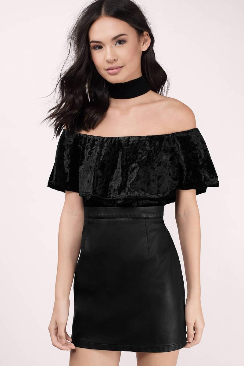 Crush It Black Velvet Bodysuit