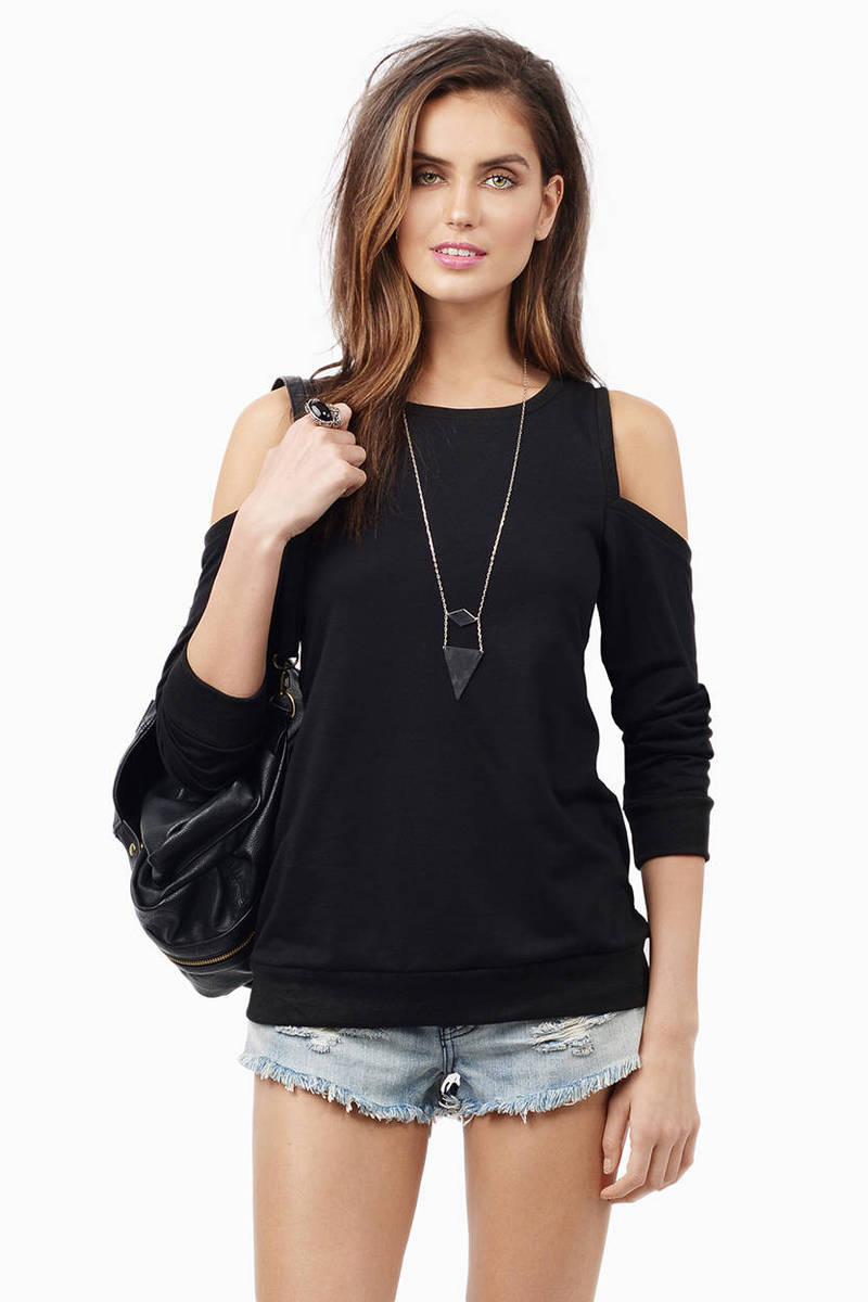 Crystal Cold Shoulder Sweater
