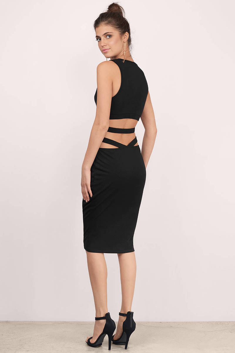 Cutting Ties Black Midi Dress