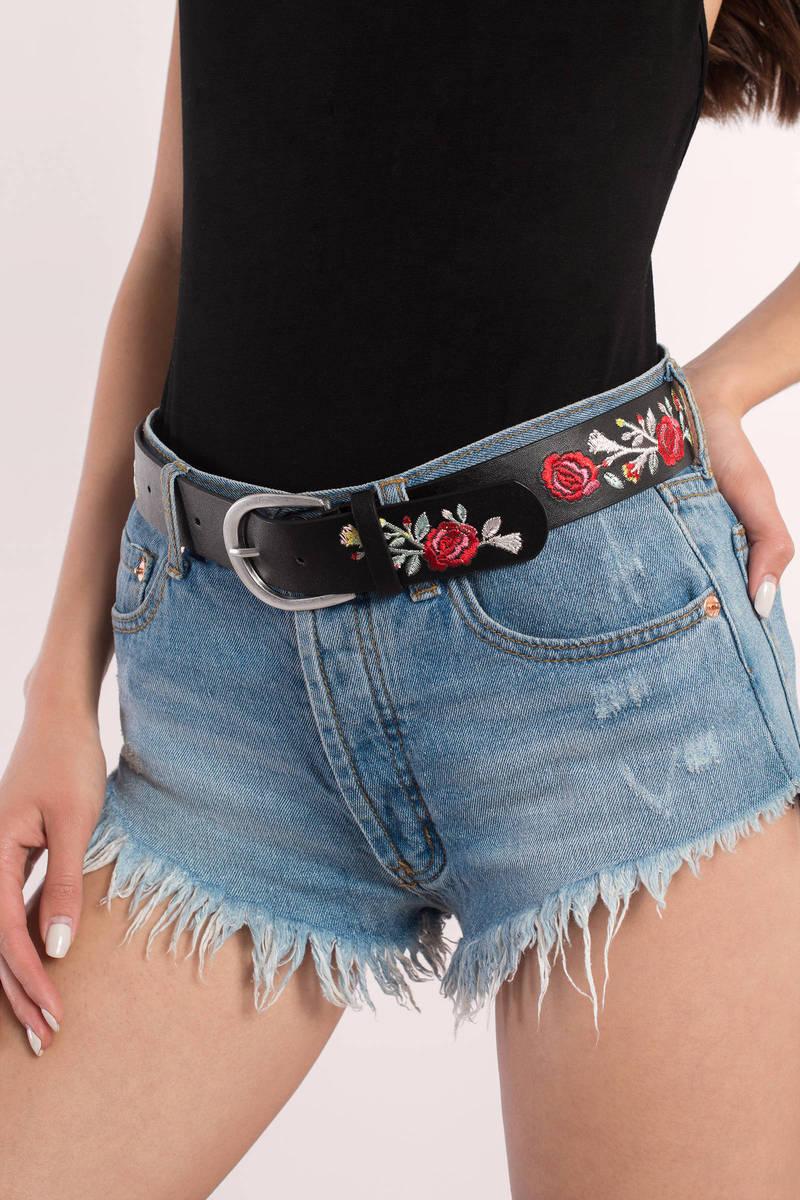 Dana Black Rose Embroidered Belt