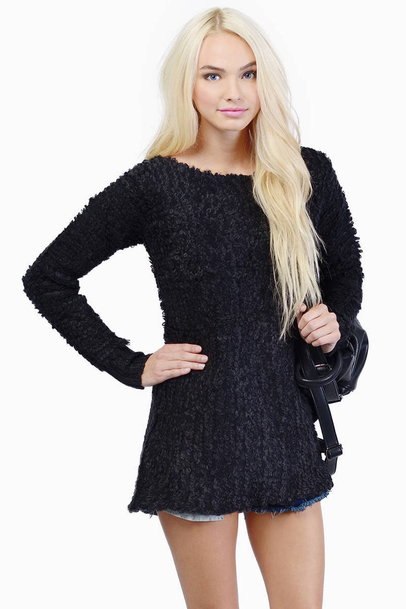 Cheap Black Sweater - Black Sweater - Fuzzy Sweater - Black ...