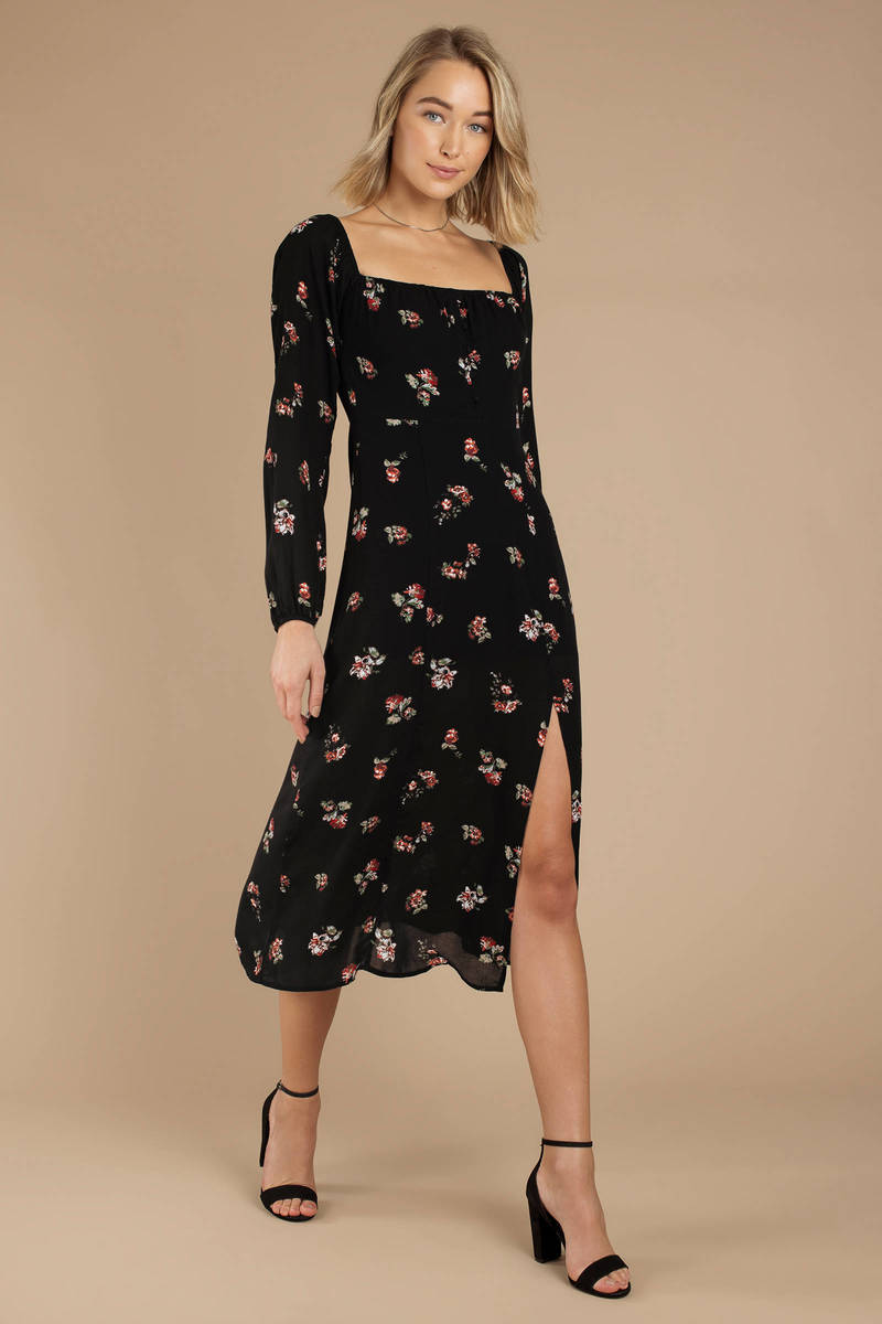 ff346fc90 Black Midi Dress - Floral Print Midi Dress - Black Square Neck Dress ...