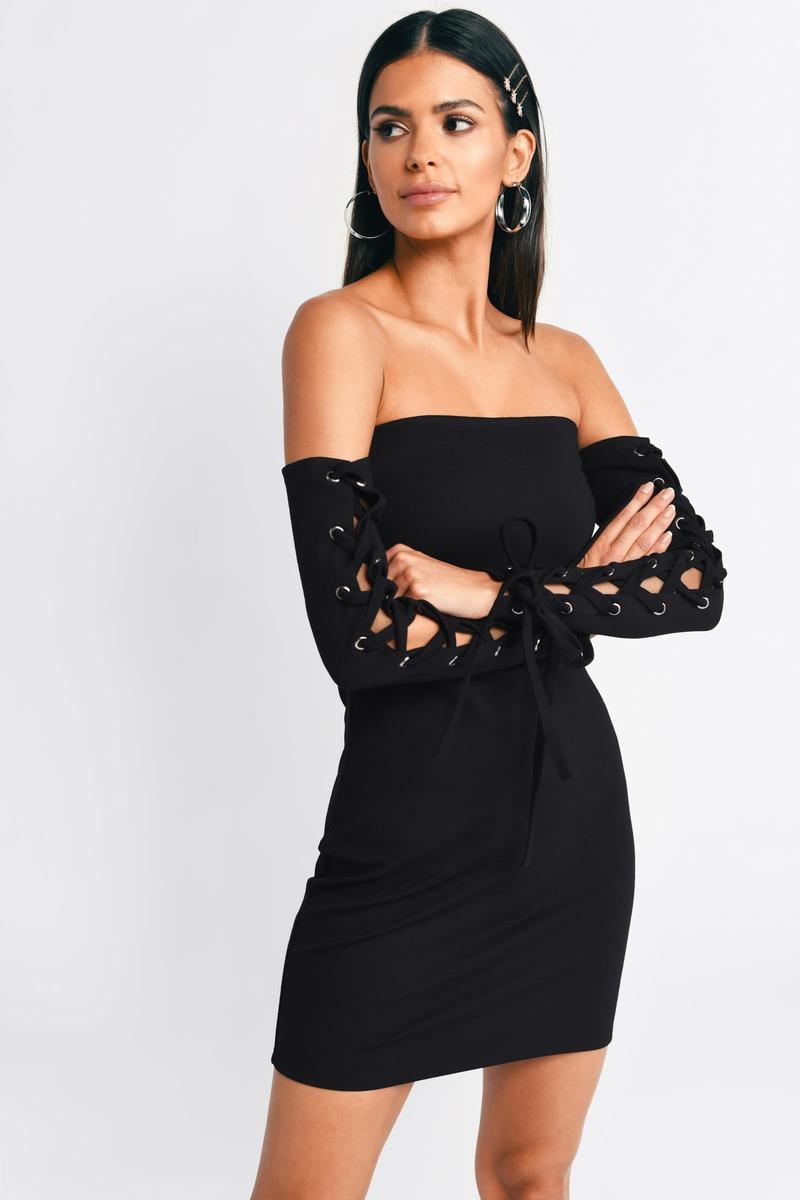 d6955ba066 Black Bodycon Dress - Slinky Black Dress - Black Off Shoulder Dress ...