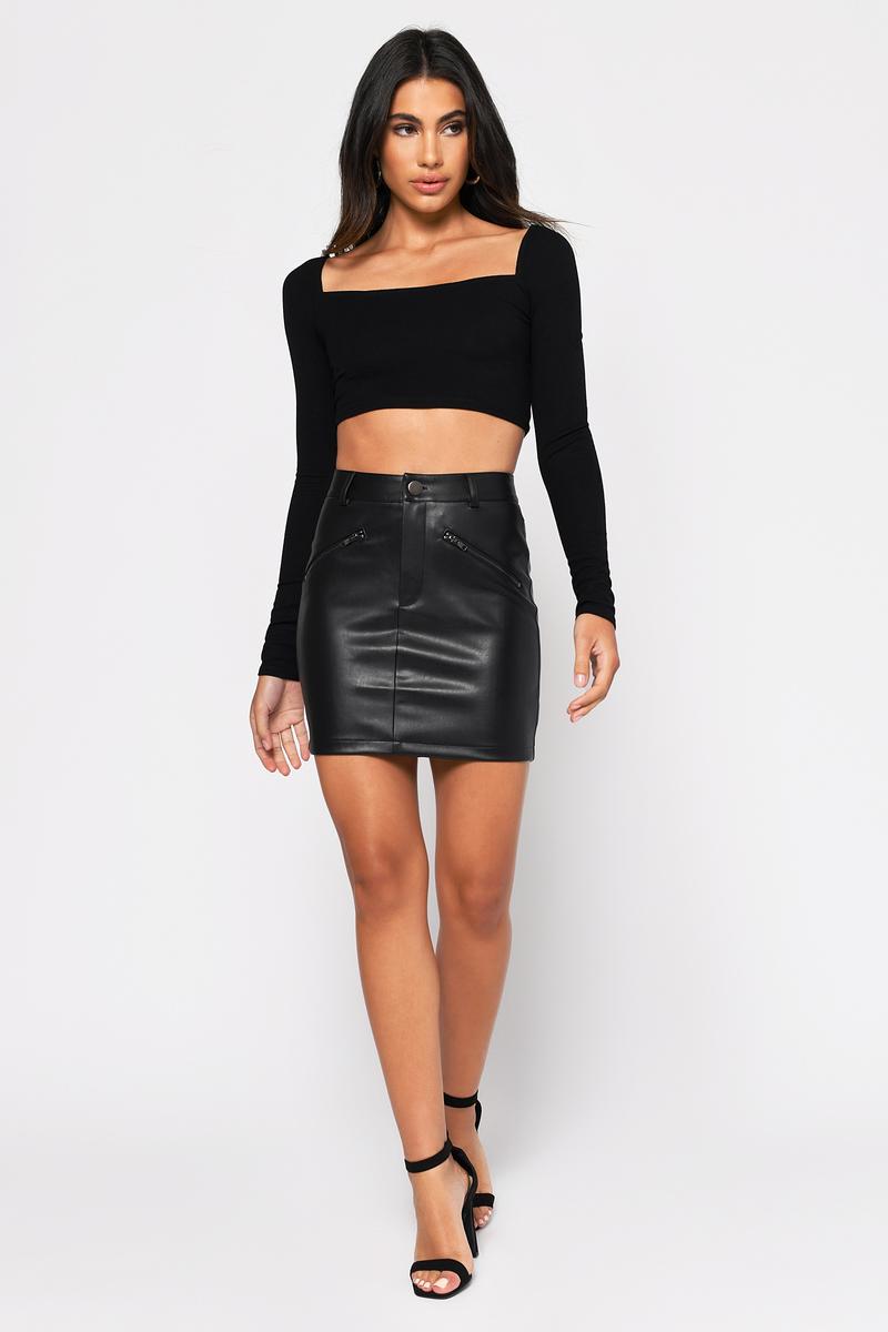 bcada31b14 Black Skirt - Night Out Skirt - Black Faux Leather Mini Skirt - $19 ...