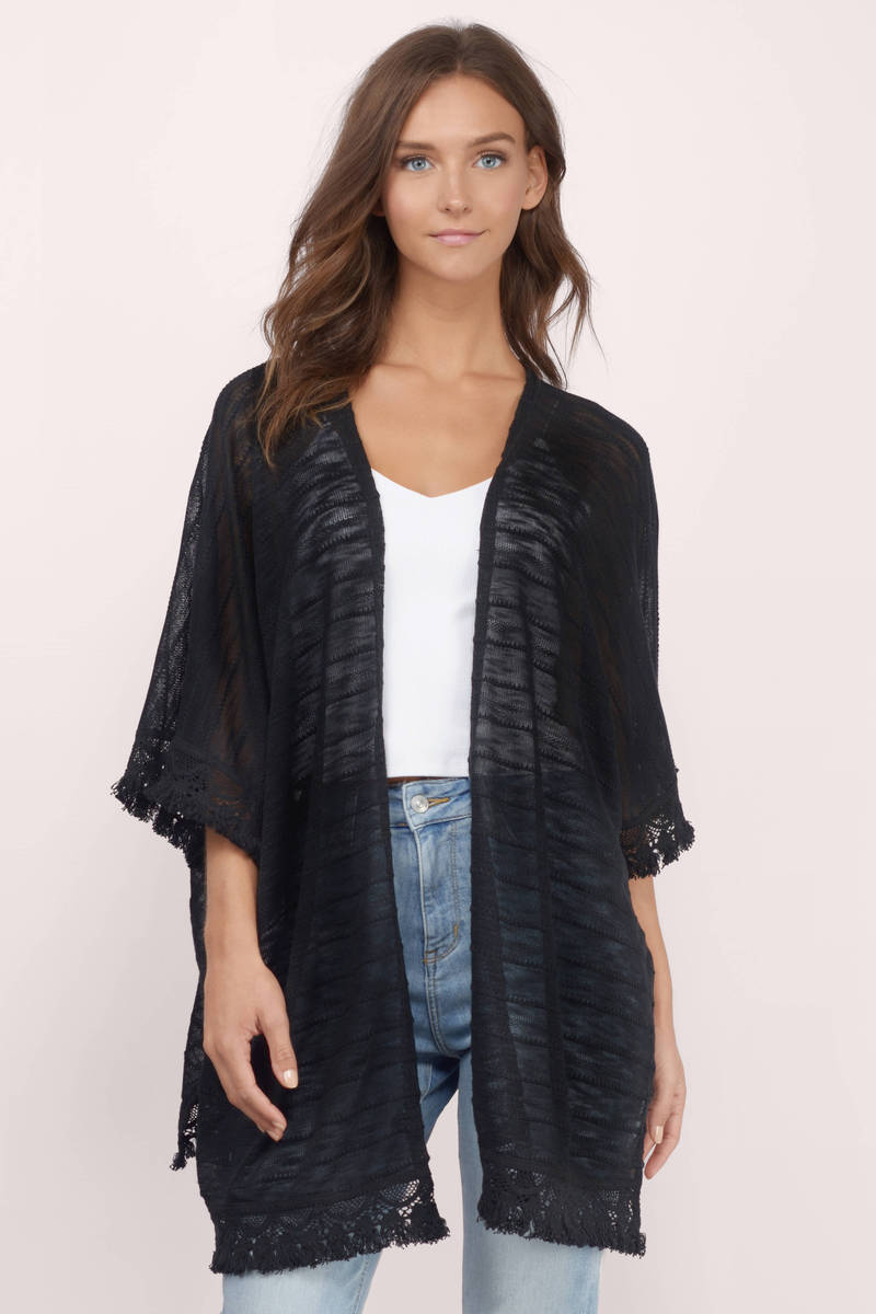 Cheap Black Cardigan - 3/4 Sleeve Cardigan - Black Cardigan - $15 ...