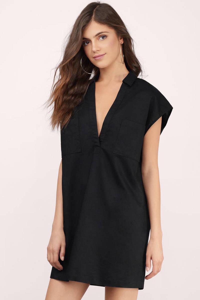 Dawn Linen Black Shift Dress