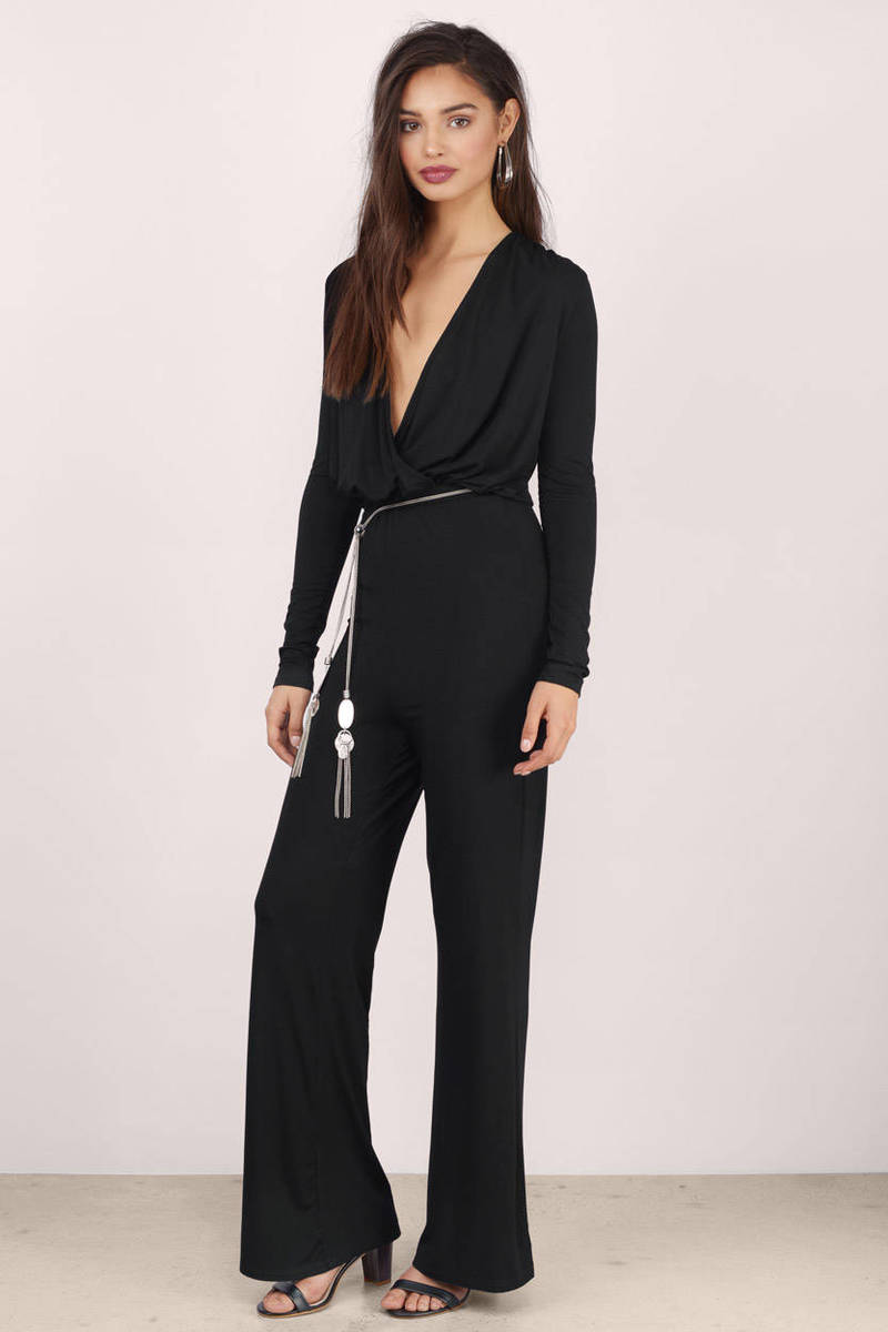 Daydreams Black Surplice Jumpsuit