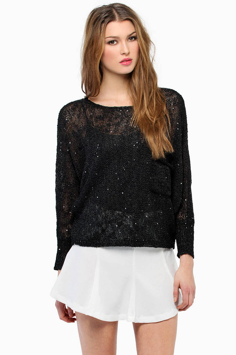 Dazzle Me Black Knitted Sweater