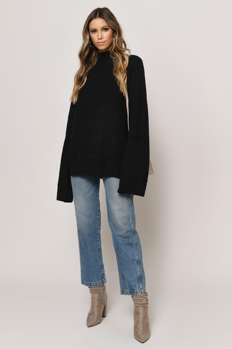 Deep End Black Distressed Sweater