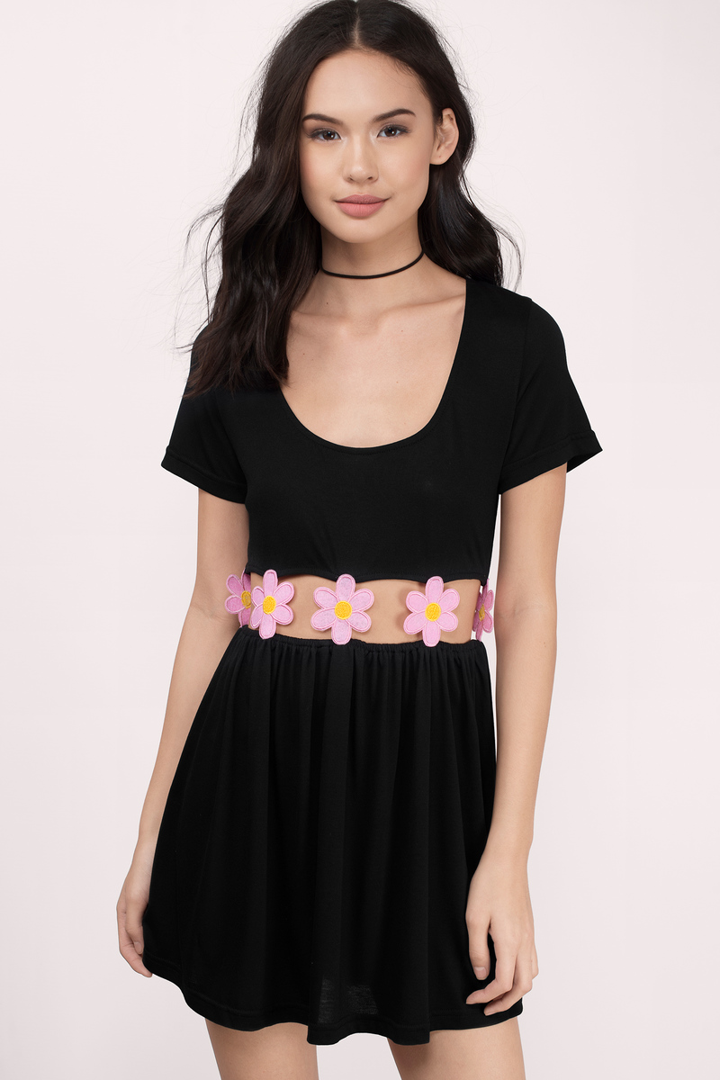 Desert Rain Black Floral Skater Dress