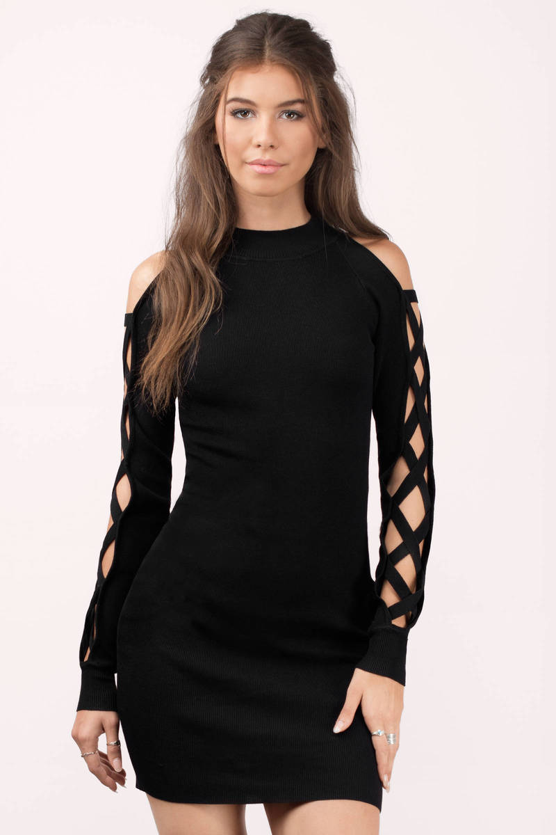 887b083f960f Black Rehab Bodycon Dress - Caged Sleeves Dress - Black Cut Out ...