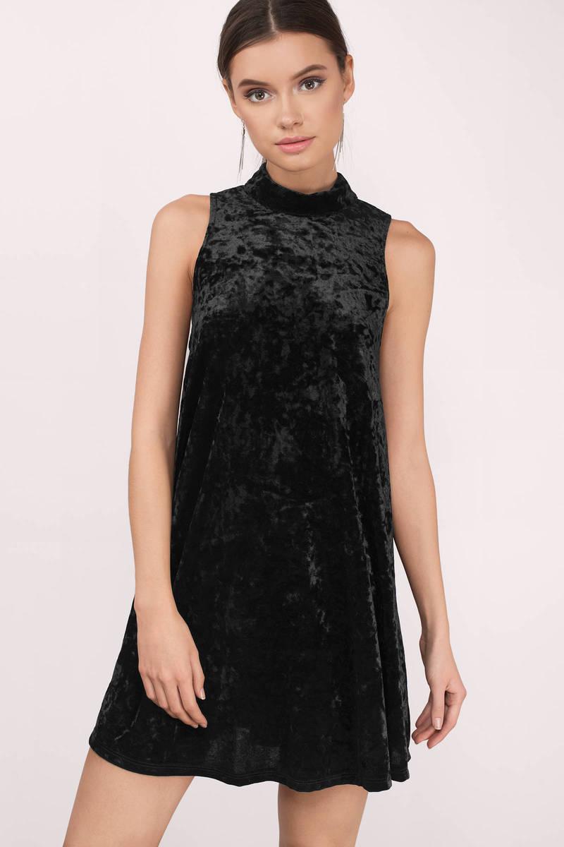 Devyn Black Velvet Shift Dress