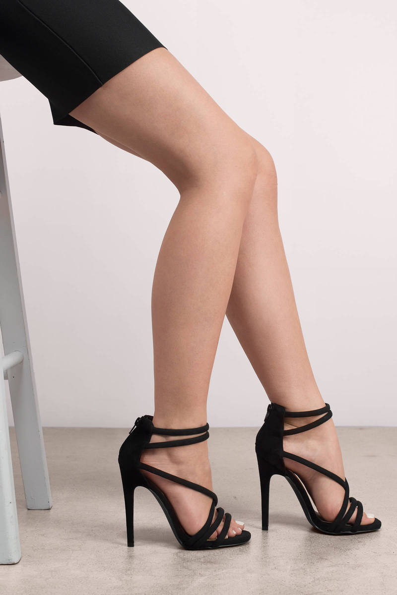 Cute Black Heels - Open Toe Heels - Strappy Heels - Multi Strap ...