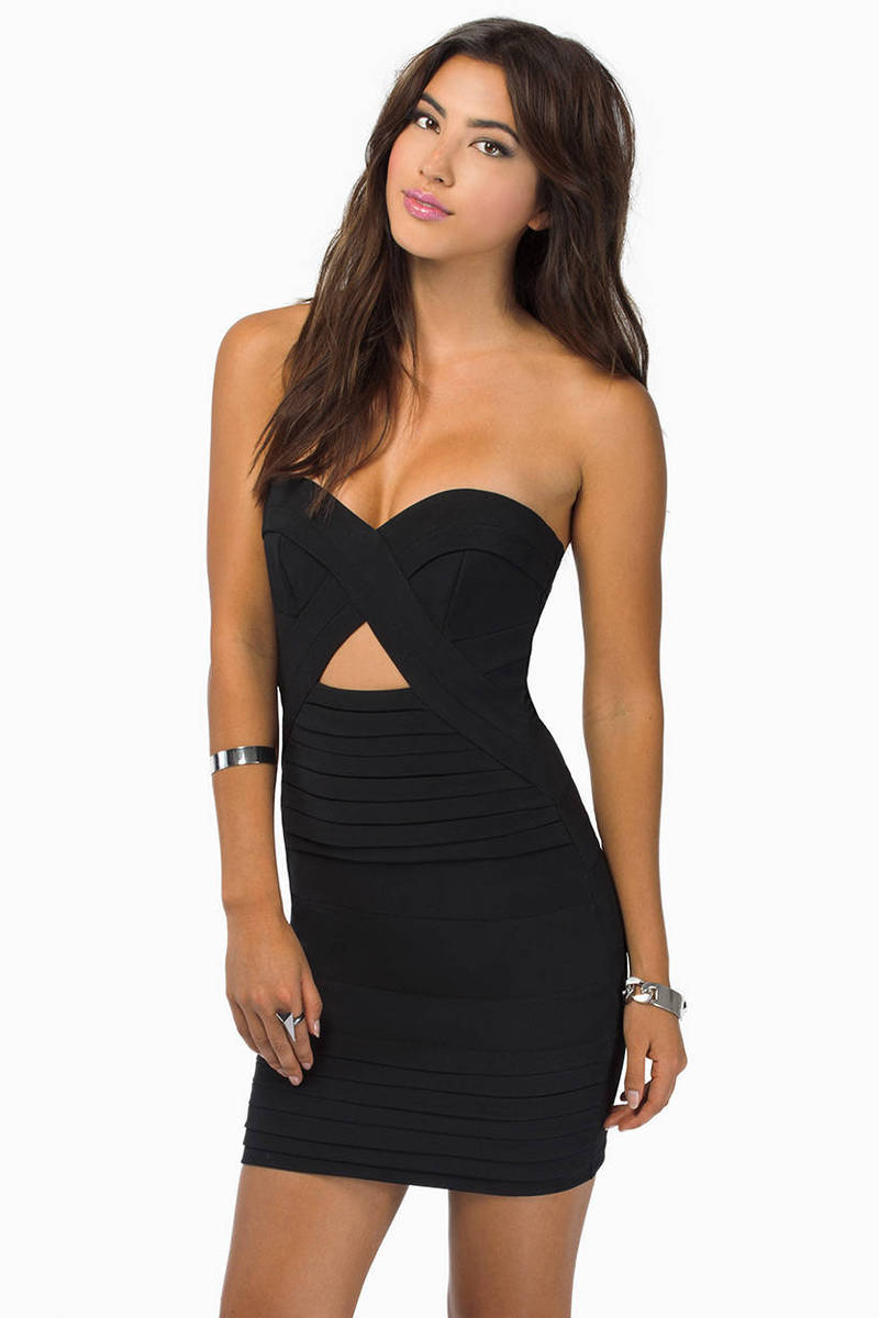 Cheap Black Bodycon Dress - Strapless Dress - $37.00