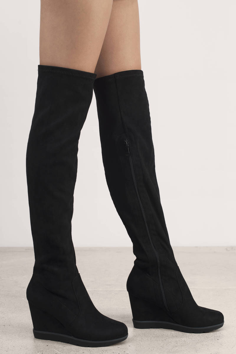 Diana Suede Wedge Boots