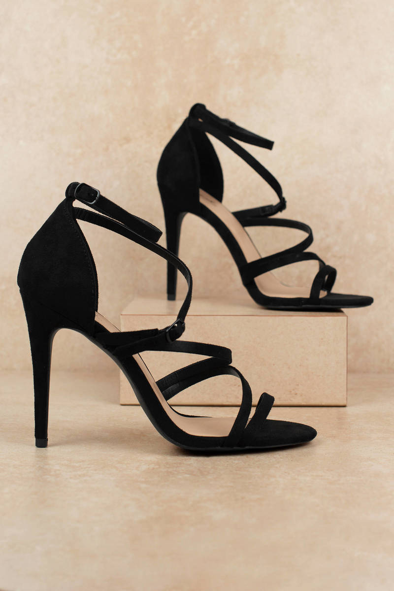 791057f7132 Black Heels - Strappy High Heels - Black Caged Heels - € 27