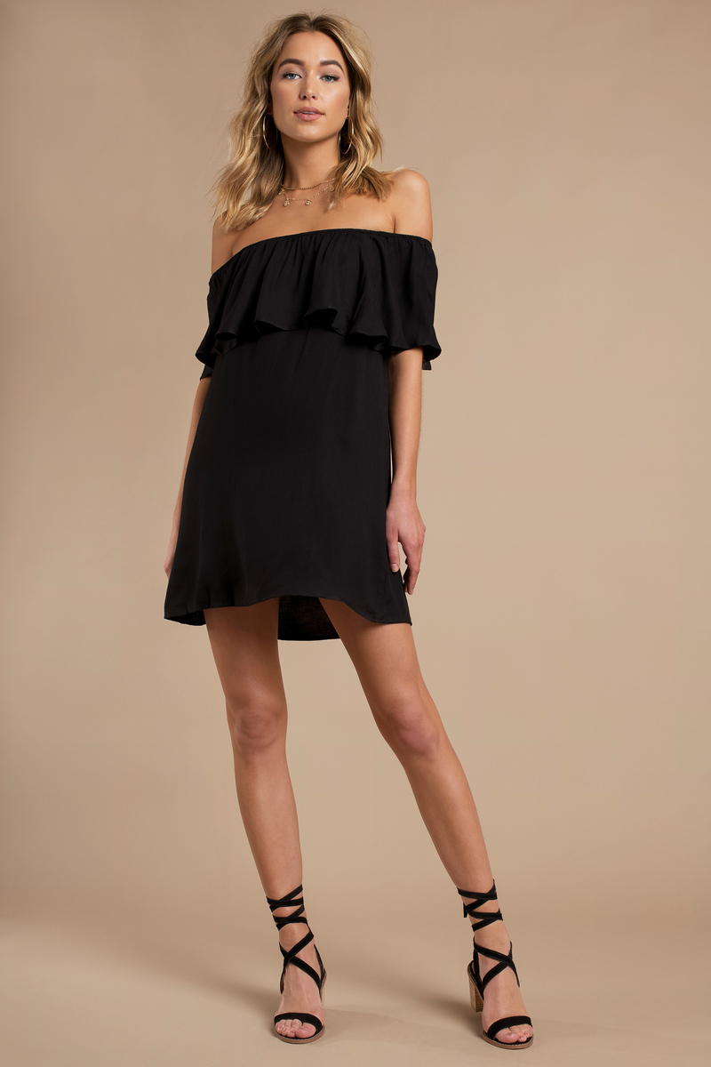 Black Shift Dress Off Shoulder Dress Black Dress
