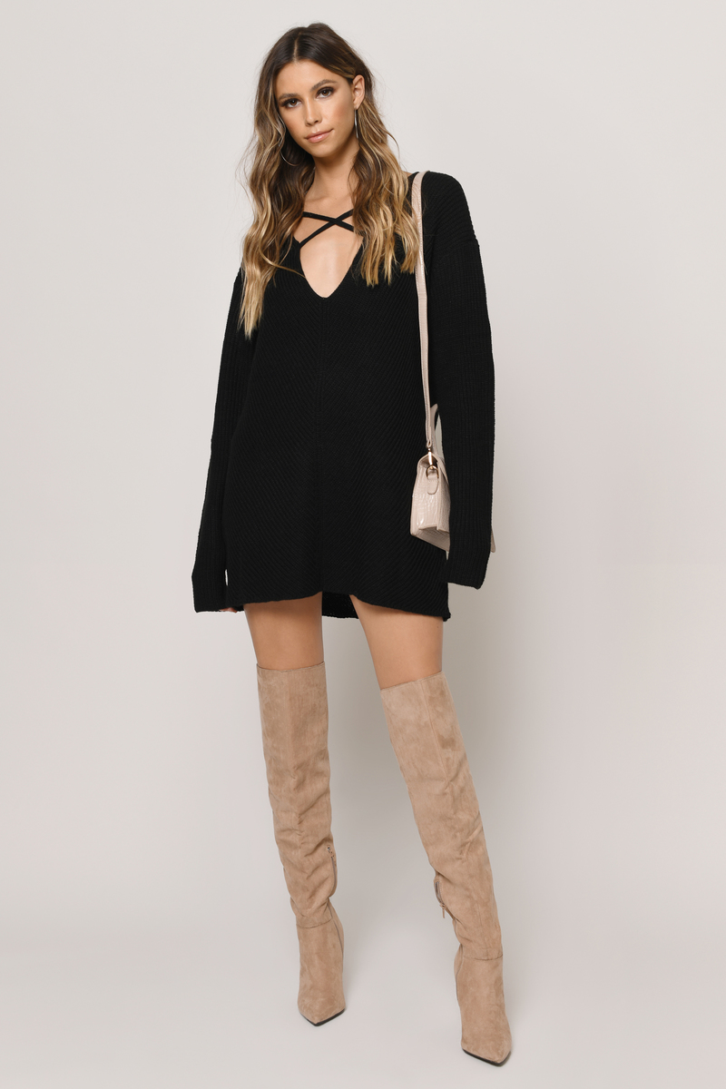 Don't Let Me Down Toast Sweater Dress