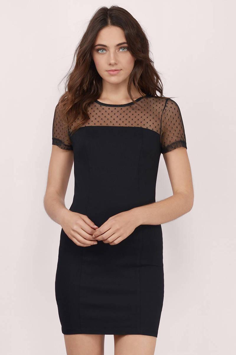 Dotted Lines Black Polka Dot Print Bodycon Dress