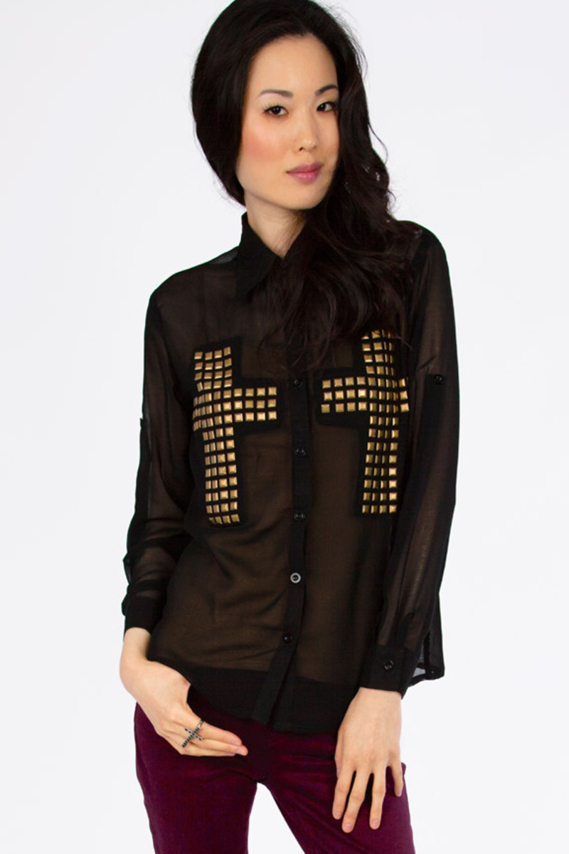 Double Cross Black Blouse