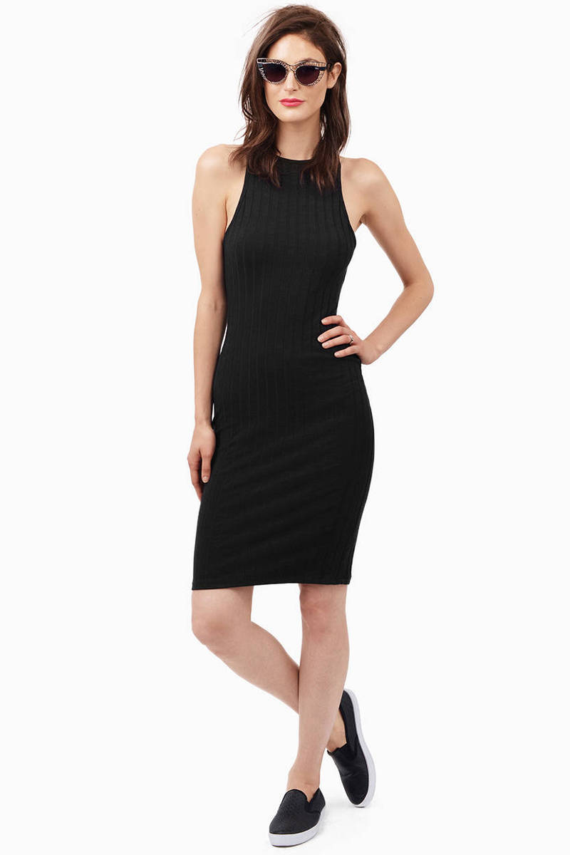 Down The Midi Black Ribbed Midi Dress