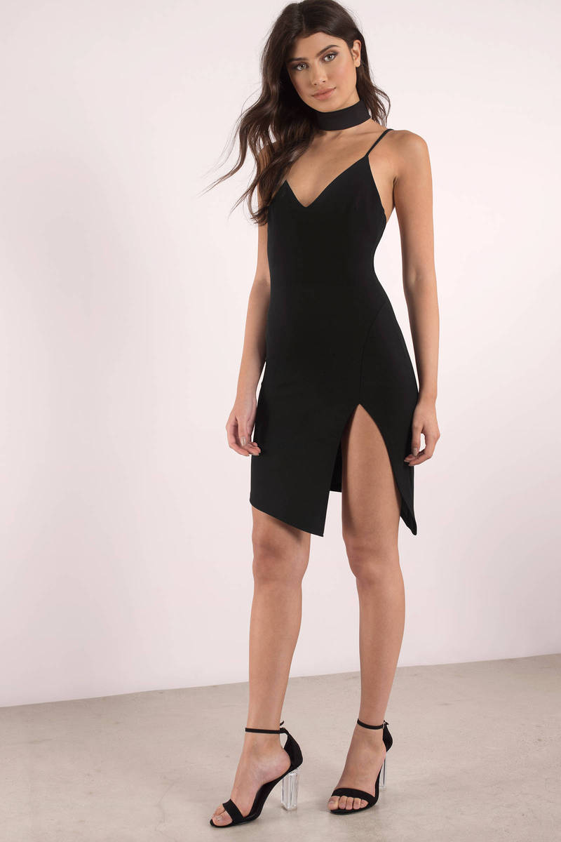 Drop It Black Bodycon Choker Dress