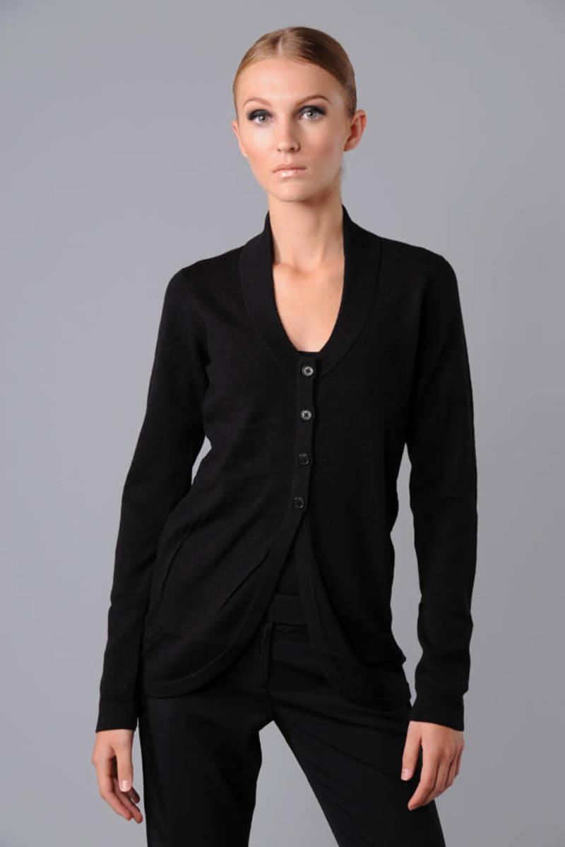 e1754363b5332 Black Helmut Lang Cardigan - Plunge Cardigan - Black Button Cardigan ...