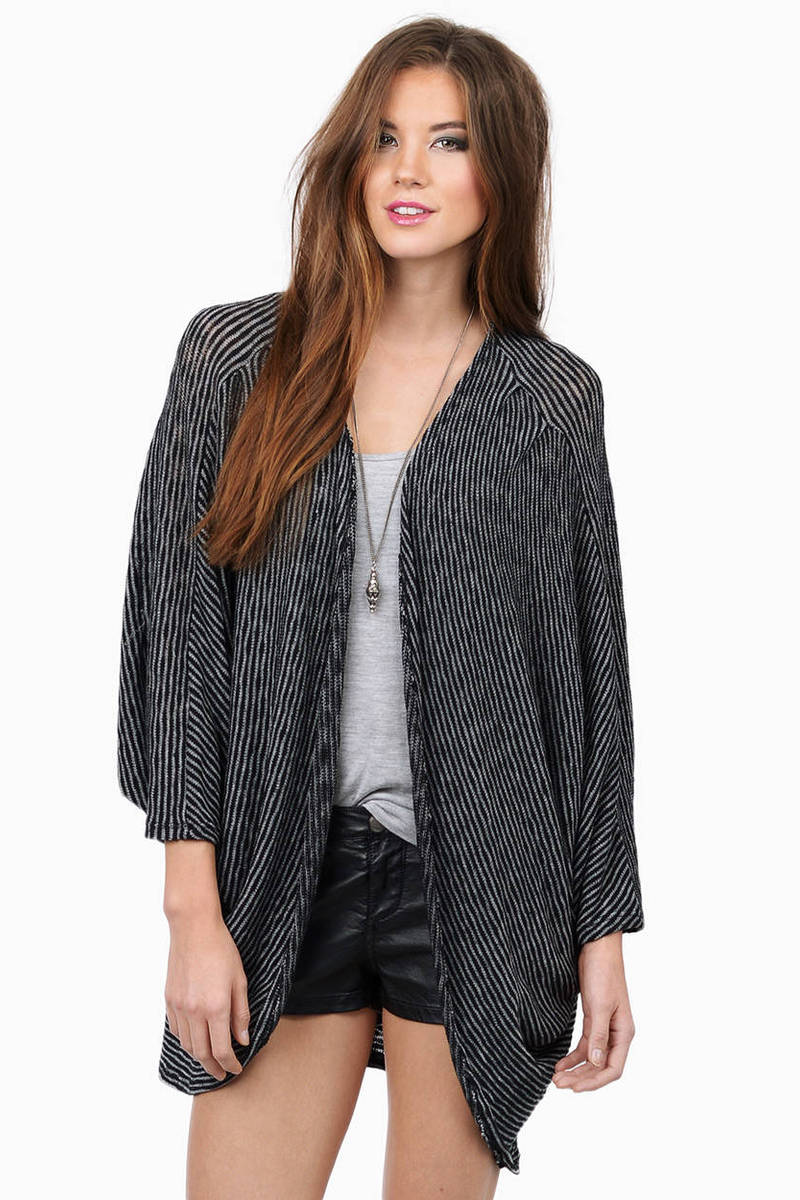 Earn Your Stripes Black Striped Cardigan