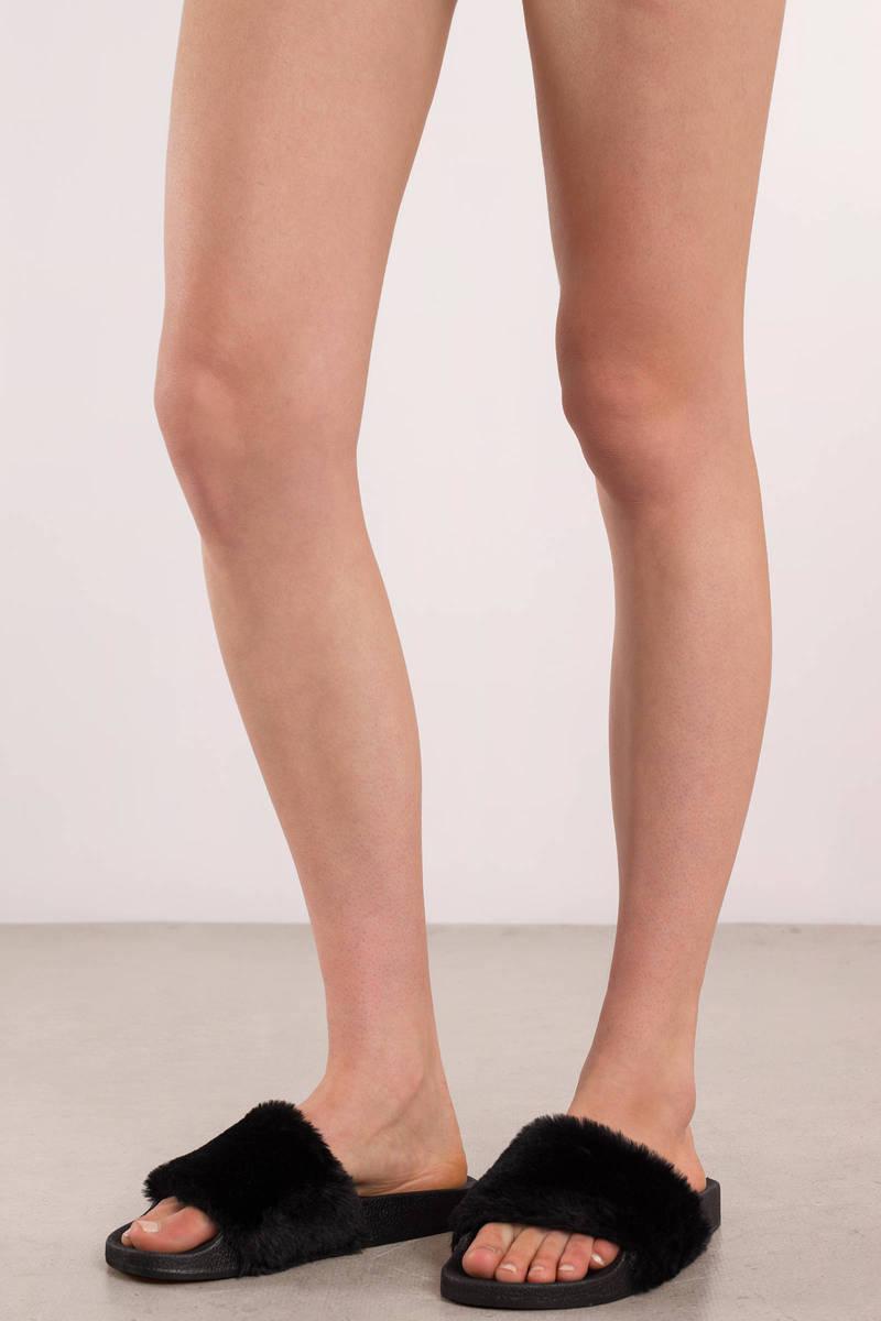 bd72c2e7ee6c Cute Black Sandals - Lounge Sandals - Black Fuzzy Sandals -  15 ...