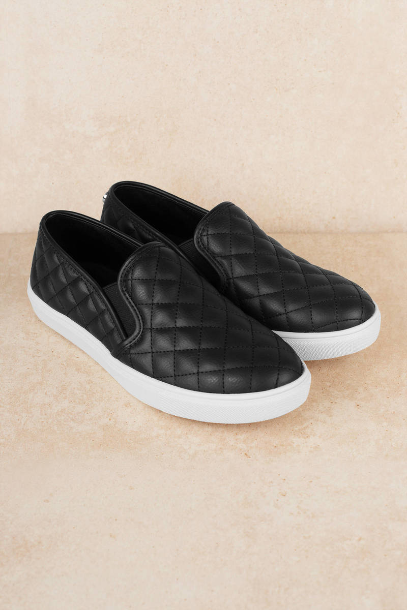 486f003094b Black Steve Madden Sneakers - Quilted Slip Ons - Black Padded ...
